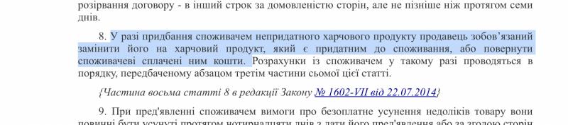 Что делать если продали несвежий товар в Украине указания закона