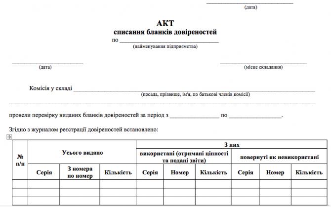 Акт списання бланків довіреностей изображение 1