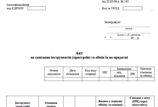 Типова форма № МШ-5 Акт на списання інструментів (пристроїв) та обмін їх на придатні изображение 1