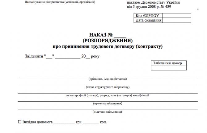 Наказ про припинення трудового договору Типова форма № П-4 изображение 1