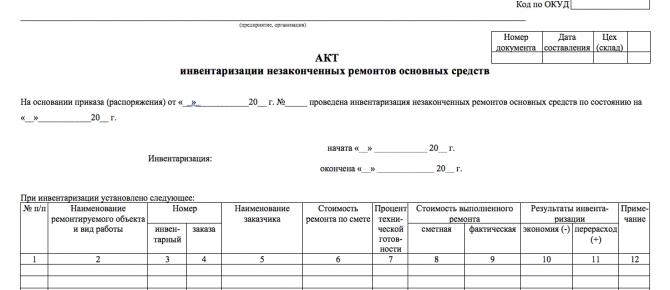 Акт инвентаризации незаконченных ремонтов основных средств изображение 1