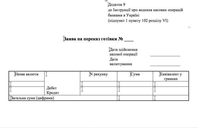 Заява на переказ готівки Додаток 9 до Інструкції про ведення касових операцій банками в Україні изображение 1