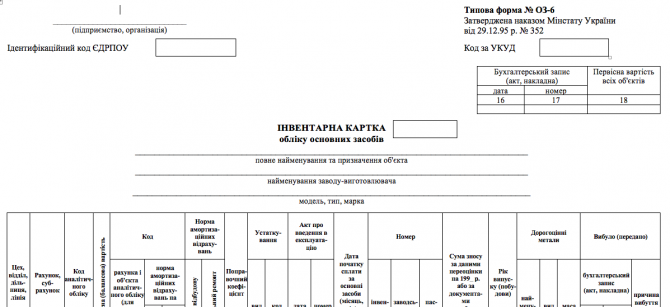 Інвентарна карта обліку основних засобів изображение 1