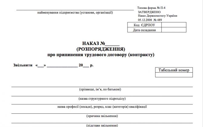 Наказ про звільнення за угодою сторін (за типовою формою П-4) изображение 1