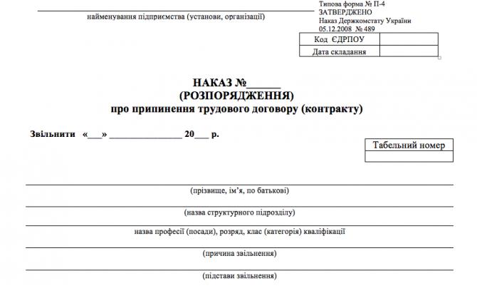 Наказ про припинення трудового договору у зв'язку зі смертю (за типовою формою П-4) изображение 1